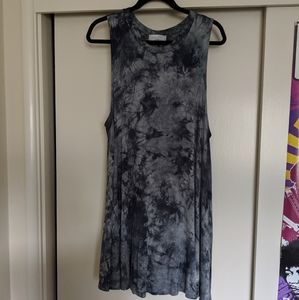 Audrey 3+1 blue and grey tie dye swing dress small